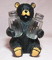 Black Bear Salt & Pepper Shaker Holder