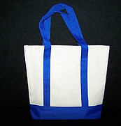 Khaki and Blue Canvas Tote Bag