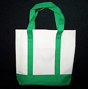 Khaki and Green Canvas Tote