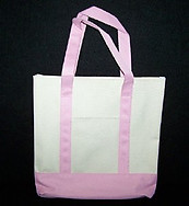 Khaki and Pink Canvas Tote