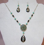 Turquoise Colored & Brown Medallion Necklace Set