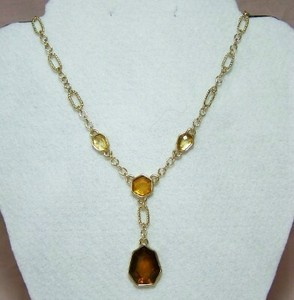 Caramel Colored Y Necklace