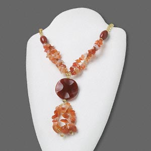 Glass & Red Agate Necklace
