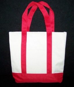 Khaki and Red Canvas Tote Bag