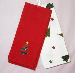 Christmas Tree Waffleweave Kitchen Towels